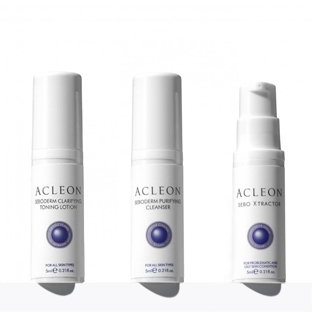 Дорожній міні-набір професійних засобів для жирної і проблемної шкіри ACLEON SEBODERM від ANACIS, 3 од